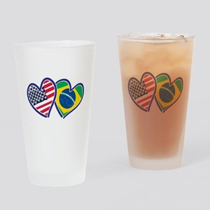USA Brazil Heart Flags Drinking Glass