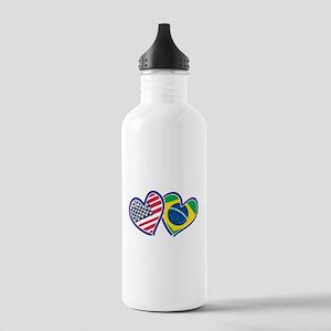 USA Brazil Heart Flags Water Bottle