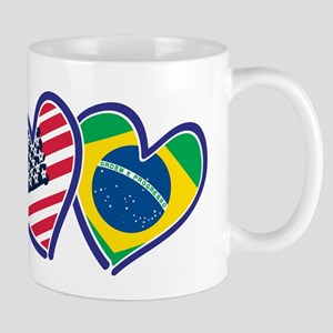 USA Brazil Heart Flags Mugs