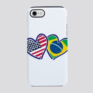 USA Brazil Heart Flags iPhone 8/7 Tough Case