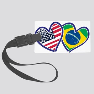 USA Brazil Heart Flags Luggage Tag