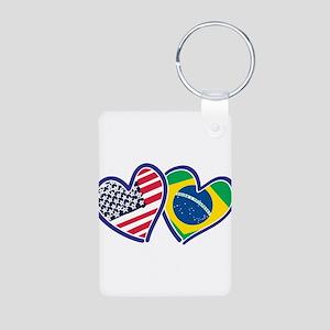 USA Brazil Heart Flags Keychains