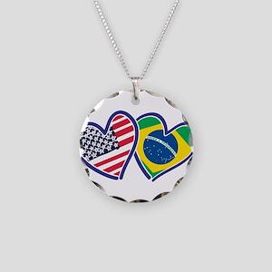 USA Brazil Heart Flags Necklace