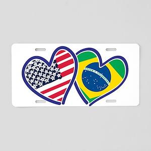 USA Brazil Heart Flags Aluminum License Plate