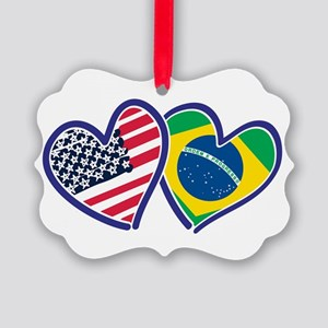 USA Brazil Heart Flags Ornament