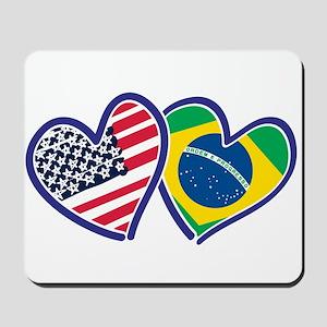 USA Brazil Heart Flags Mousepad