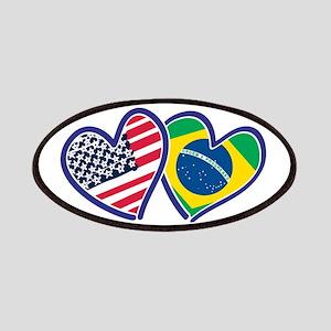 USA Brazil Heart Flags Patch
