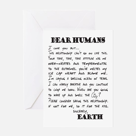 Letter to Humans from Earth Greeting Cards