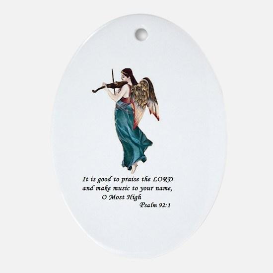 Angel Violin Christmas Oval Ornament