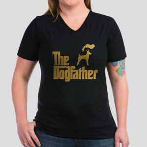 Toy Fox Terrier Women's V-Neck Dark T-Shirt