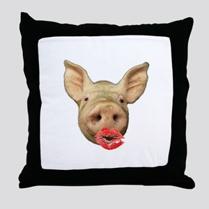 pigs with lipstick Throw Pillow