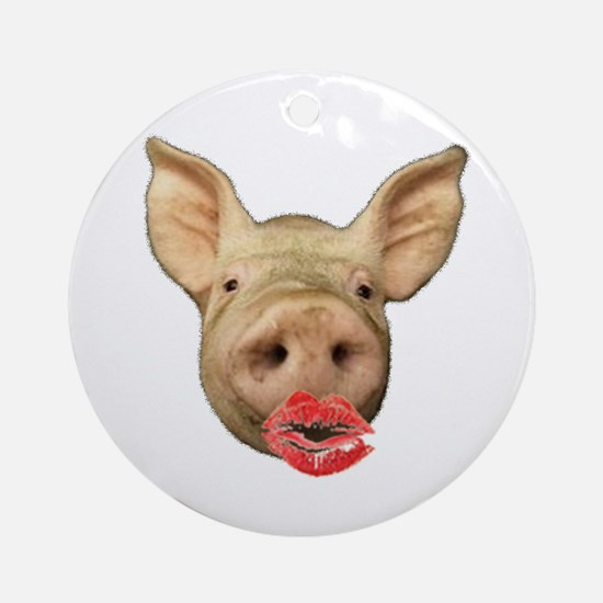 pigs with lipstick Ornament (Round)