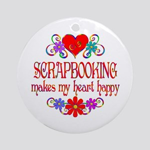 Scrapbooking Happy Heart Round Ornament