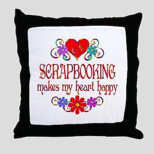 Scrapbooking Happy Heart Throw Pillow