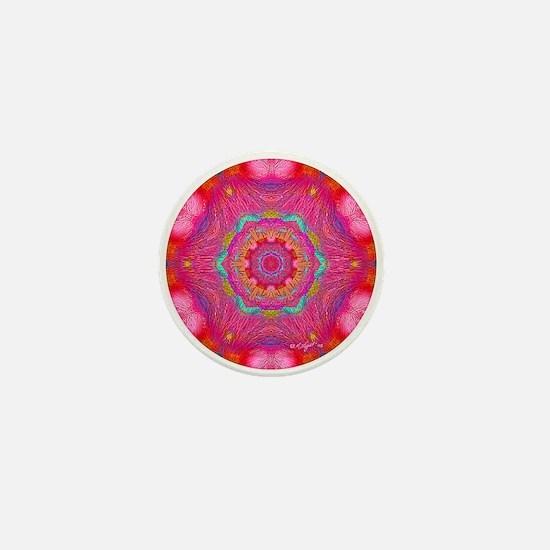 Pink Crystal Mandala Mini Button
