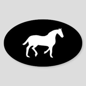 Black/White Horse Lover Oval Sticker