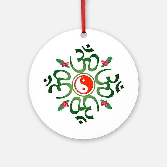 Zen Christmas Wreath Ornament (Round)