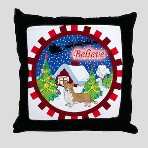 Believe Welsh Corgi Throw Pillow