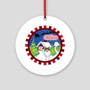 Believe Sheltie Ornament (Round)