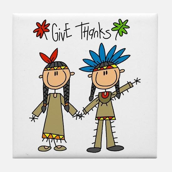Native American Thanksgiving Tile Coaster