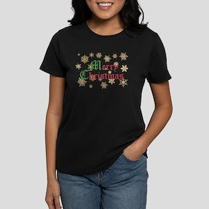 GOLDEN MERRY CHRISTMAS Women's Dark T-Shirt