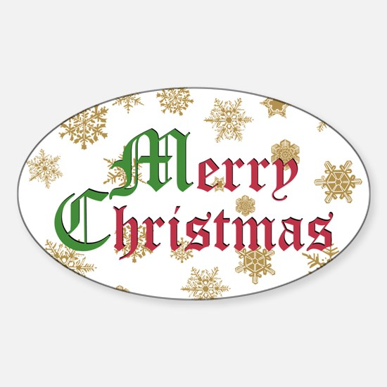 GOLDEN MERRY CHRISTMAS Oval Decal