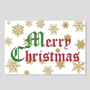 GOLDEN MERRY CHRISTMAS Postcards (Package of 8)