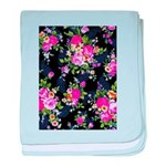 Rose Bouquets on a Black Background baby blanket