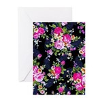Rose Bouquets on a Black Background Greeting Cards