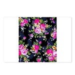 Rose Bouquets on a Black Background Postcards (Pac