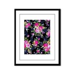 Rose Bouquets on a Black Background Framed Panel P