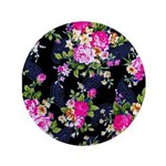 """Rose Bouquets on a Black Background 3.5"""" Button (1"""