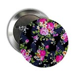 """Rose Bouquets on a Black Background 2.25"""" Button ("""