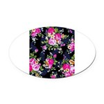 Rose Bouquets on a Black Background Oval Car Magne
