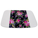 Rose Bouquets on a Black Background Bathmat