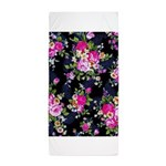 Rose Bouquets on a Black Background Beach Towel