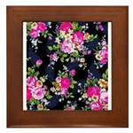 Rose Bouquets on a Black Background Framed Tile