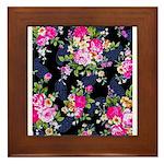 Rose Bouquets on a Black Background Framed Tile