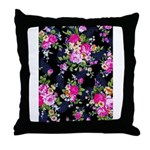 Rose Bouquets on a Black Background Throw Pillow