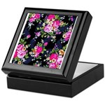 Rose Bouquets on a Black Background Keepsake Box
