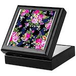 Rose Bouquets on a Black Background Keepsake Box