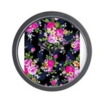 Rose Bouquets on a Black Background Wall Clock
