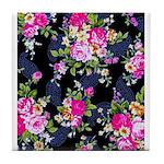Rose Bouquets on a Black Background Tile Coaster