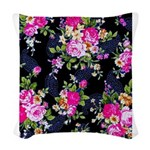 Rose Bouquets on a Black Background Woven Throw Pi