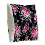 Rose Bouquets on a Black Background Burlap Throw P