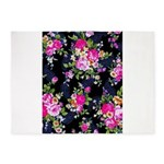 Rose Bouquets on a Black Background 5'x7'Area Rug