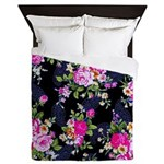 Rose Bouquets on a Black Background Queen Duvet