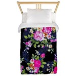 Rose Bouquets on a Black Background Twin Duvet Cov