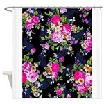 Rose Bouquets on a Black Background Shower Curtain