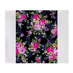 Rose Bouquets on a Black Background Throw Blanket